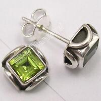 925 Sterling Silver Genuine CUT GREEN PERIDOT VINTAGE STYLE Studs Earrings .7 CM