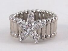 New Silvertone Starfish Stretch Ring Loaded with Clear Crystals #R1135