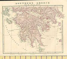 C1850 Vittoriano mano colorata mappa ~ Antica Grecia meridionale Morea