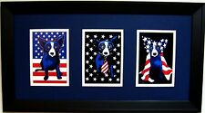 "GEORGE RODRIGUE PATRIOTIC NOTECARD TRIO - 22"" x 12"" - NAVY BLUE / WHITE MATTING"