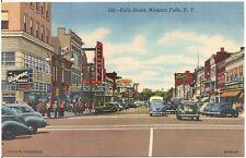 Busy Scene on Falls Street in Niagara Falls NY Postcard