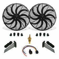 """Super Cool Pack 16"""" S Blade Fans, Fixed Temp Switch, Harness, Bracket Additive"""