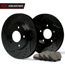 2007 Honda Accord Rear Disc (Black) Slot Drill Rotor Ceramic Pads R