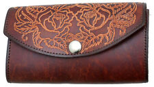 Ladies Brown Leather Organizer Wallet Tooled Floral Roses Purse Made in USA