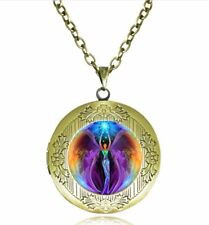 Purple Angel Photo Cabochon Glass Tibet Silver Locket Pendant Necklace