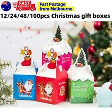 Xmas Christmas Gift Boxes Bags Treat Favour Present Candy Cookie Kraft Box Party