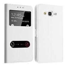 Housse Etui Clapet Fenetre Blanc Interieur Silicone pour Samsung Galaxy A3 2017