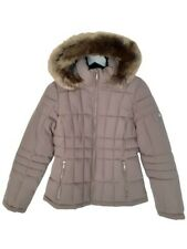 New Womens XS Calvin Klein Quilted Faux Fur Detachable Hood Zip Jacket Tawny Owl