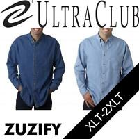 UltraClub Tall Mens Cypress Long-Sleeve Denim Shirt with Pocket. 8960T