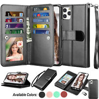 For iPhone 11,11 Pro Max,XS Max,XR,XS Leather Wallet Flip Card Holder Case Cover