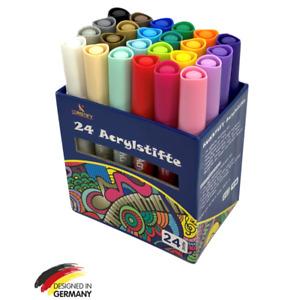 Acrylstifte für Steine Marker 24 Farben Set permanent wasserfest Filzstifte DIY
