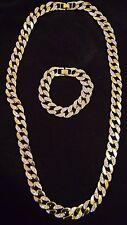 Iced gold overlay cuban chain necklace & bracelet set