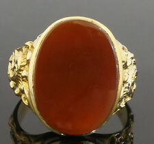 Vintage 9Carat Yellow Gold Oval Orange Carnelian Solitaire Ring (Size Y) 15x20mm