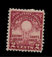 US 1929 SC # 654 2 c ELECTRIC LIGHTS  MINT NH - Crisp Color