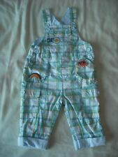 Adams baby boys green blue check dungarees 3-6 months vgc