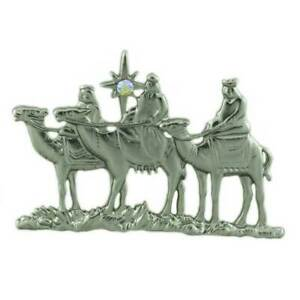 3 Wise Men / 3 Kings with Crystal North Star Christmas Brooch Pin - XP460