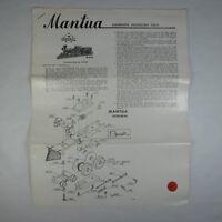 A637 ANTICHE ISTRUZIONI LOCOMOTIVA MANTUA THE GENERAL SHEET NO. 90-8-007 VINTAGE