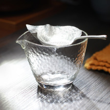 Hand-crafted Leaf Shaped Pure Silver Tin Mesh Loose Tea Filter Strainer