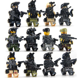 12pcs Special Forces Swat Soldiers Blocks Toy Figures For Lego Minifigure Kids