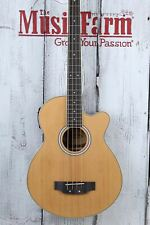 Washburn AB5K 4 String Cutaway Acoustic Electric Bass Guitar Natural w Gig Bag