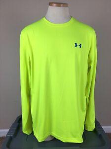 Under Armour ColdGear Loose Crew Long-Sleeve Neon Yellow Shirt Men's Size L