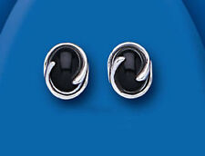 Markenlose Echter Edelsteine-Ohrschmuck aus Sterlingsilber mit Onyx