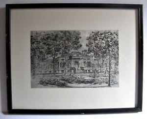 Vintage Framed Caroline Williams Stencil Print 1954 The TAFT MUSEUM 12X15