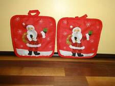 Santa Claus Oven Hot Pads Set of Two Red Christmas Holiday Kitchen Accessory