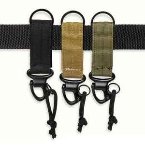 Tactical Camping Molle Key Ring Nylon Webbing Keychain Clip Buckle Outdoor Hook