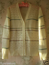 Vtg WW2 40s 50s 60s 70s Floral Fairisle Crochet Lace Knit Cardigan Cream S/M