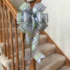 """10"""" WIDE SPRING/EASTER MULTI COLOR PLAID BOW FOR WREATHS BASKETS DECORATIONS"""
