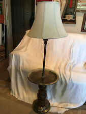 """Rustic Vintage Floor Lamp With Built In Circular Center Table For Drinks 52"""""""