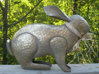Large FIGURAL RABBIT SCULPTURE METAL FIGURE Home Garden Decor Bunny