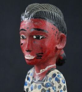 """Art Africain - Superbe Femme """"Colon"""" Baoulé Blolo Bla Epouse Mystique - 30,5 Cms"""