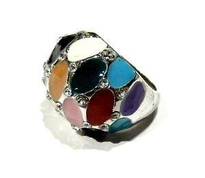Bijou bague boule émaillée strass fantaisie multicolore ring idéal pour cadeau