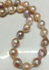 "Big 12-15mm Natural South Sea Baroque Purple Akoya Pearl Necklace 18"""