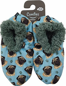 Comfies Womens Pug Dog Slippers - Sherpa Lined Animal Print Booties