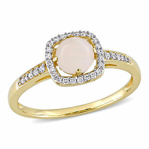 Amour 10k Yellow Gold Opal and Diamond Floating Halo Ring