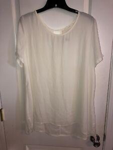 NWT LUSH Cream Sheer Top Shirt Size XL