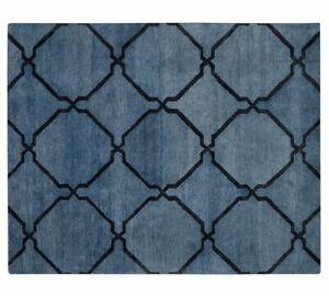 Pottery Barn Tonal Tile Indigo Modern Handmade Wool Area Rug 9' x 12'