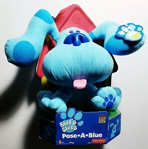 """Vintage Blues Clues Pose-A-Blue 8"""" Plush (Fisher-Price, Tyco, 1997) *NEW IN BOX*"""