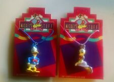 "Disney Donald and Daisy Duck Two PC Necklace Set Vintage early 90""s New Mint"