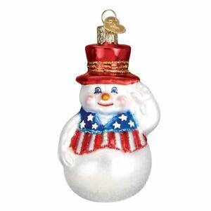 Old World Christmas PATRIOTIC SNOWMAN (24180)N Glass Ornament w/ OWC Box
