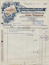 Kassel, facture 1920, AG pour pharmacien. Besoins article Georg Wenderoth