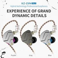 KZ ZSN Pro Metal Earphones 1BA+1DD Hybrid HIFI Bass Earbuds In Ear Soprt Headset