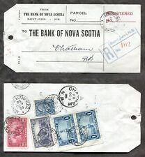 p839 - Canada 1935 Bank Parcel Tag $2.65 Pair $1 Champlain Monument. St John NB