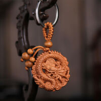 Dragon Wood 3D Carving Chinese Fengshui Pendant Key Chain Keyring Craft Hi-Q