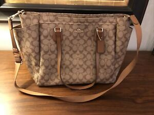 Coach Signature Baby Bag C1777-F38303 Khaki Saddle - Mint! $350 Value