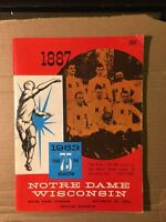 1963 Notre Dame Fighting Irish vs Wisconsin Badgers Football Program GOOD+