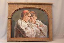 Pastel signé Paule Marie daté 1941 : les enfants de coeur